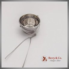 Embossed Rim Tea Strainer Basket French 1st Standard 950 Sterling Silver 1900