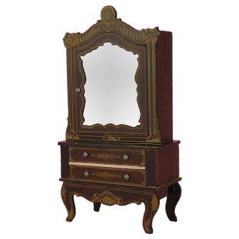 All original Miniature Boulle Cupboard by Kestner - ca. 1860/80, for antique Doll's House