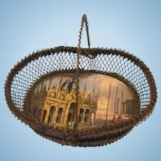 Early 19th. Century Miniature Wire Basket with View of Venice