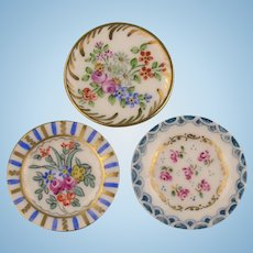 Limoges - Three Antique Handpainted Miniature Plates for your Doll's House (1)
