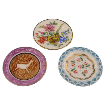 Limoges - Three Antique Handpainted Miniature Plates for your Doll's House (2)