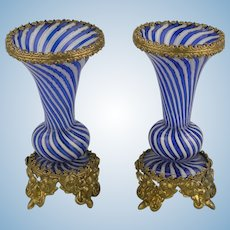19th. Century: Miniature Clichy Ormolu Mounted Vases