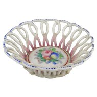 Handpained French Miniature Porcelain Basket