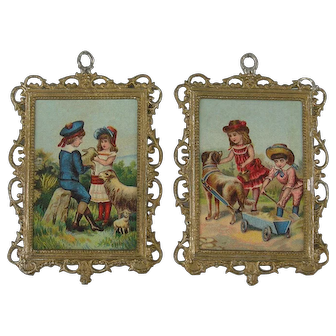 A wonderful Pair of Dolls House Pictures - ca. 1900