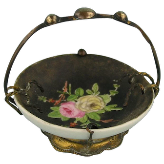 Antique Brass Mounted French Miniature Porcelain Bowl - ca. 1900