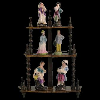 Three Pairs of Antique 19th Century Miniature Porcelain Figures