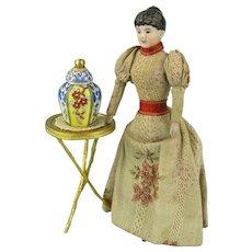 Desvres Gabriel Fourmaintraux - Handpainted Miniature Lidded Vase