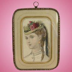 Wonderful antique French fashion engraving in original frame - Number 2
