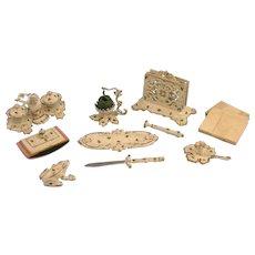 RARITY - Antique Doll Desk Set - 10 pieces