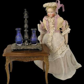 19th Century Miniature Silver Menage with Original Bottles