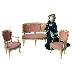 19th Century Miniature Rococo Settee and Fauteuils