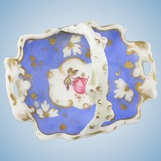 19th. Century Handpainted Miniature Porcelain Basket