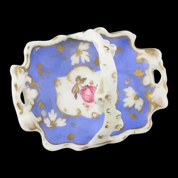 19th. Century Handpainted Miniature Porcelain Basket