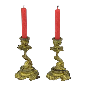 19th Century French Miniature Dolphin Candlesticks