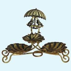 Extremely Decorative: Miniature Ormolu Etagere with tiny birds sitting under an umbrella ca. 1900