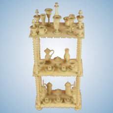 Extremely Delicate Antique Miniature Doll's House Etagere or Whatnot made of Bone