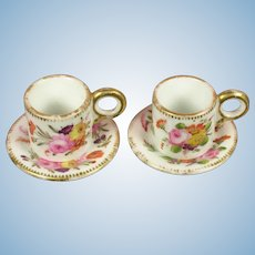 Ca. 1820 - Early English Pair of Miniature Cups for Dolls or Doll's Houses