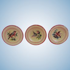 19th Century Miniature Treen - three plates with birds and butterfly!