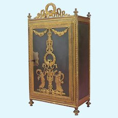 RARITY: Neo-Classical French Ormolu and Bronze Miniature Armoire