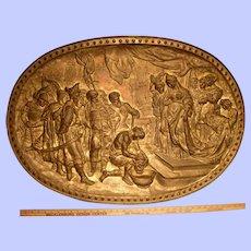 """Large Brass Plaque--J.J. Labaer--""""Beheading of St. John the Baptist"""""""