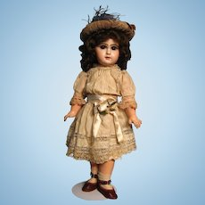 """18"""" Closed Mouth Tete Jumeau--gorgeous brown eyes, beautiful painting!"""