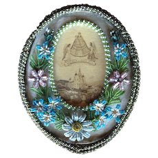 Beautiful Flower beaded frame. Circa 1900. Made by Nuns for Mariazell Pilgrimage