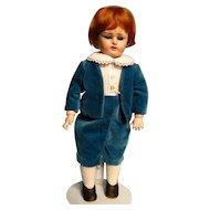 "12-1/2"" German papier-mache head doll on composition body--what a dapper little dude!"
