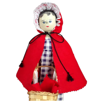 """11 1/2"""" Grodnertal Wooden Peddler or Red Riding Hood. Great character look!  Collection ready."""
