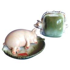 Royal Bayreuth Piggy Bank and Pig Pin Dish