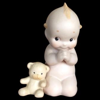 Bisque Kewpie Saying Prayers with Teddy Bear