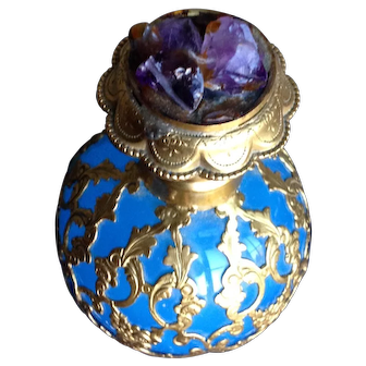 Amethyst Stopper Opaline Glass Palais Royal Blue Perfume / Scent.