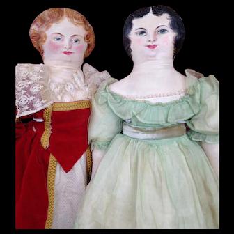 "Fantastic Pair 20"" Oil Cloth Artist Dolls"