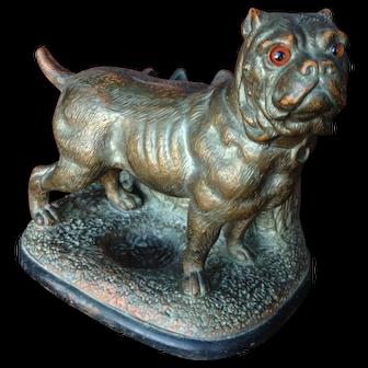 Large Terracotta Bulldog. Smoke set. Bronze appearance.