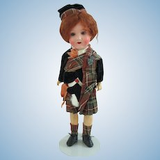 """13.5"""" Armand Marseilles 390 with All Original Scottish Outfit"""
