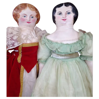 Pair Vintage Oil Painted Cloth Dolls