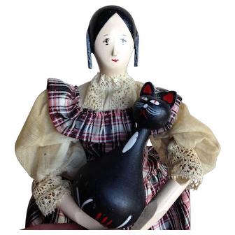 """9"""" Wooden with Wooden Cat. House of the Seven Gables"""