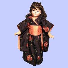"""Vintage Silk Dupioni Kimono for 21"""" doll (16"""" body)"""