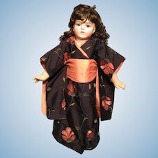 "Vintage Silk Dupioni Kimono for 21"" doll (16"" body)"