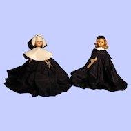 "Two 7-1/2"" 1950's hard plastic dolls---Nun and Graduate"