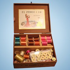 Vintage thread---50+ spools---mostly silk and 100% cotton!!  With vintage wooden cigar box