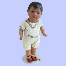 """13"""" Ernst Heubach 452 Toddler--Dark Skinned Bisque Doll"""