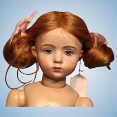 "Adorable Human Hair Strawberry Blonde Wig in 10"" Circumference"