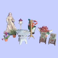 9 Pieces. Dollhouse Garden Accessories