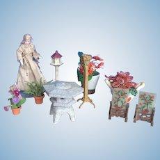 9 Pieces. Dollhouse Garden Accessories