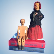 Pair of Wooden Chip Carved Dolls. So Unusual
