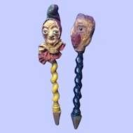 SOLD TO D.W. Polichinelle / Punch and French Rooster Puppets.  Folk Art