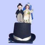 Bisque Bride and Groom on Top Hat Display
