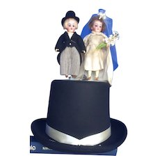 Bisque Bride and Groom on Top Hat Display