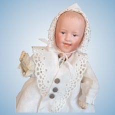 Captivating Heubach Mechanical Doll. Walks / Toddles. Works Great. All Original. Wind-up