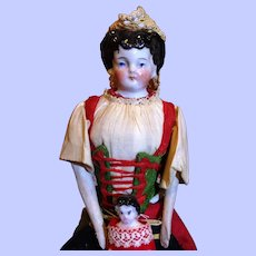 Unusual Conta & Boehme China Doll with Baby. Original Costume